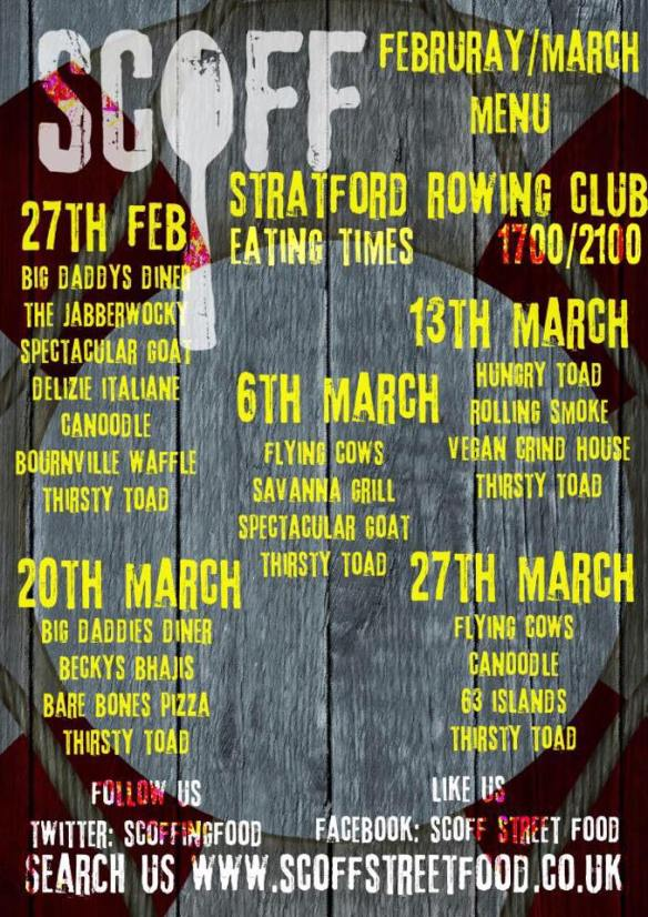 Scoff Street Food Stratford Rowing Club menu