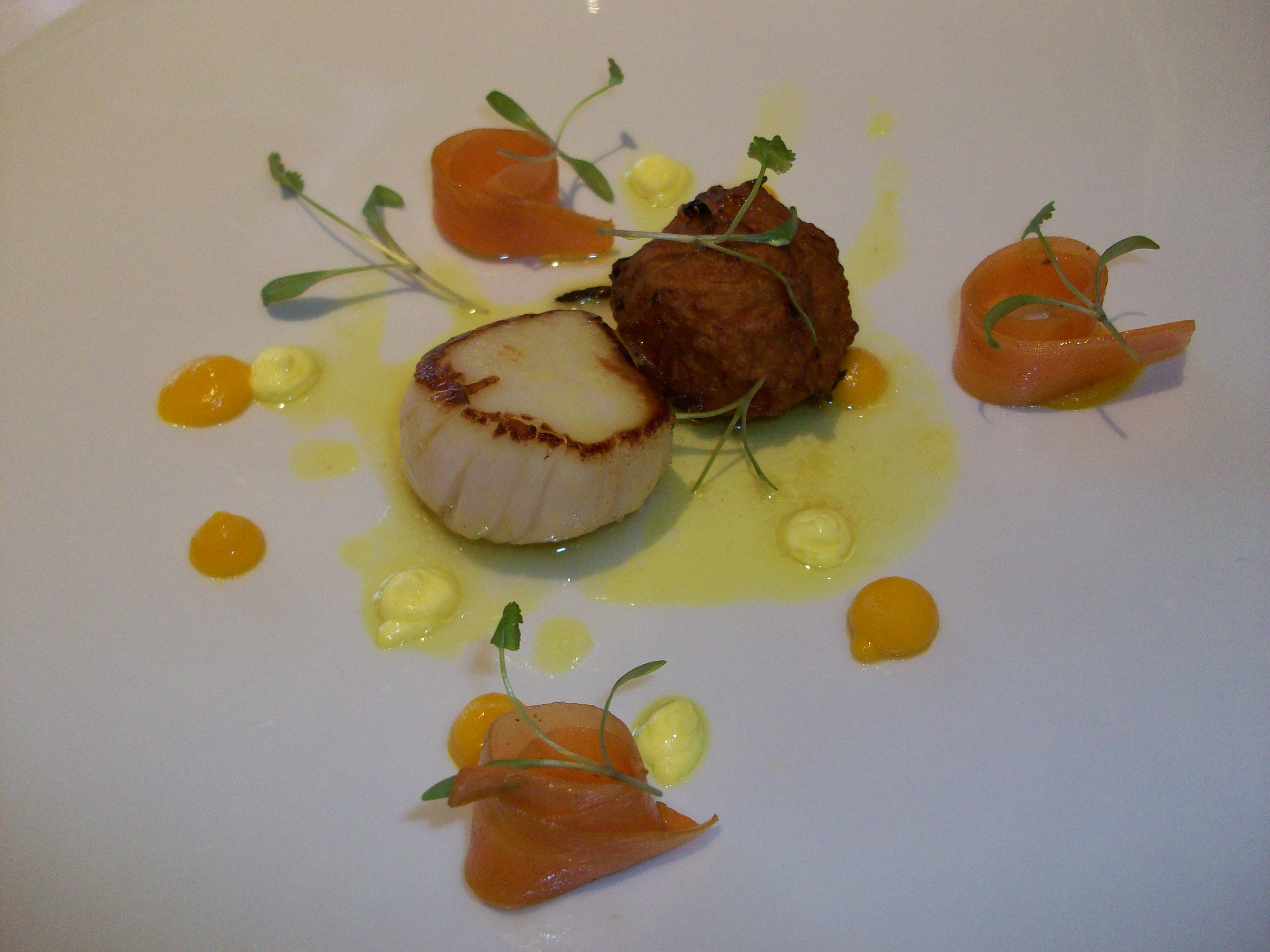 scallop with a carrot bhaji, curried coconut and coriander cream ...