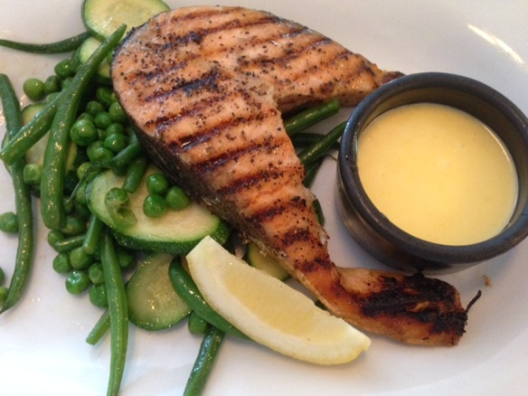 The Almanack Kenilworth grilled salmon steak with lemon and fennel rub