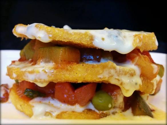 Boo-Fes fried polenta burger