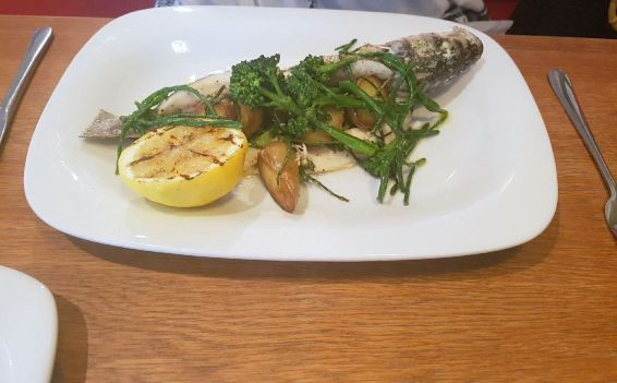 Sea bass with samphire The Star & Garter