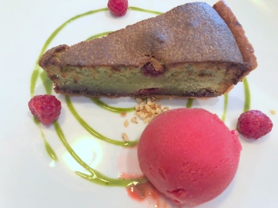 Warm raspberry and pistachio tart The Star & Garter